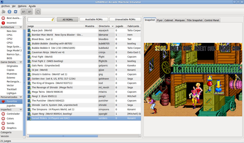 Captura de GMAMEUI, interfaz para XMAME y SDLMAME