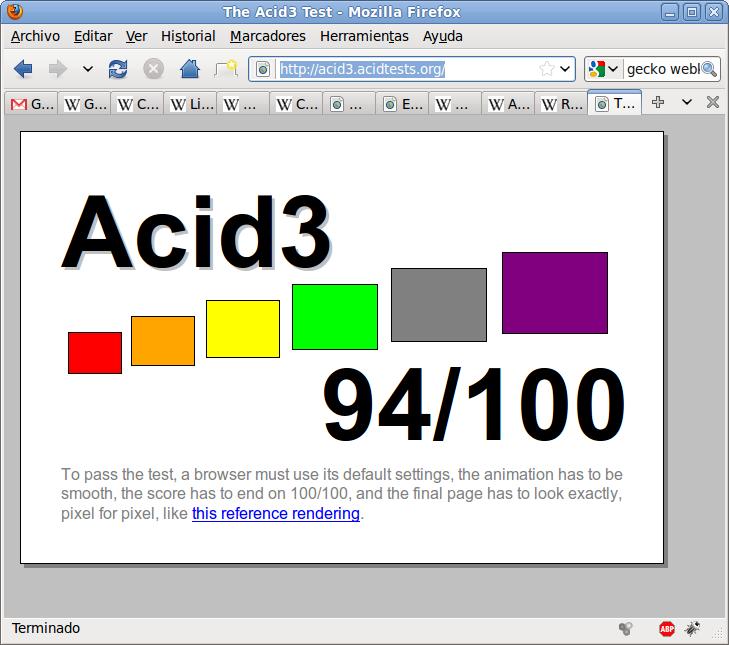 Acid3 en Firefox 3.6.6