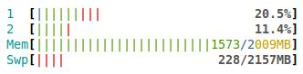 Una captura de htop mientras uso únicamente Chromium con 8 pestañas